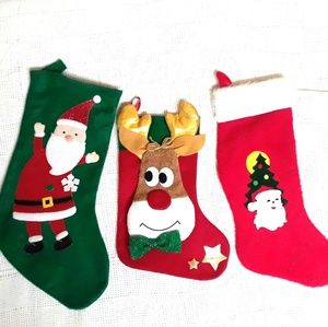 Vintage Christmas Stocking Lot of 3 Santa Rudolph